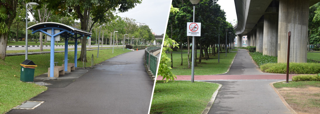 Figure 2: Weather protection along the Park Connector from Pasir Ris to Tampines by means of a shelter (left) or protected by the MRT bridge (right)