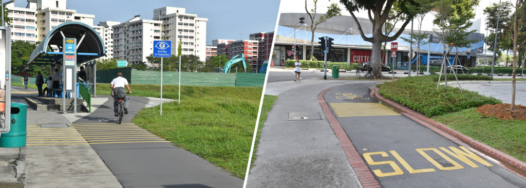 Figure 4: Design of bicycle lanes in Pasir Ris: a bus stop bypass (left) and a feeder lane for the MRT station (right)