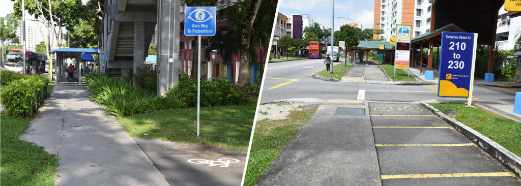 Figure 7: Other types of interruptions like narrowing bicycle lanes (left) and crossings of access roads or parking exits (right)