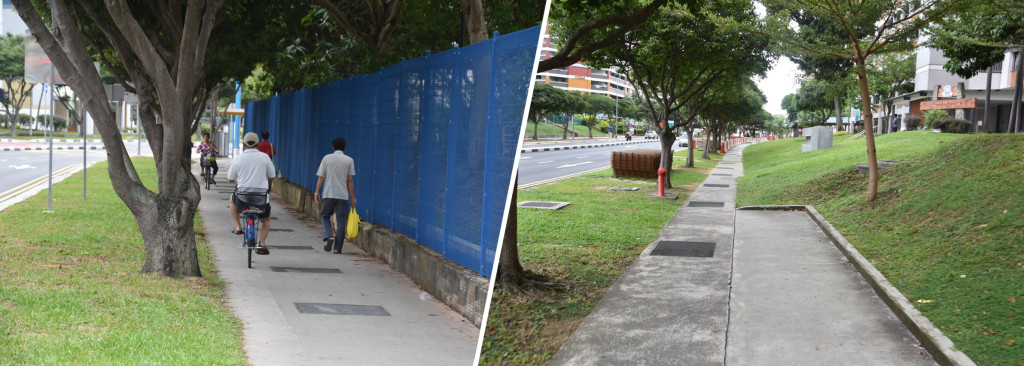 Figure 8: 'Widening' of sidewalks in order to create mixed pedestrians and cycling zones (left) and abrupt end of bicycle lane (right), both examples from Tampines