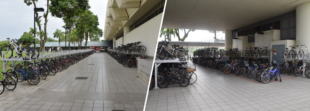 Figure 9: Efforts have been made over the last years to expand bicycle parking facilities at MRT stations (here: Pasir Ris MRT)