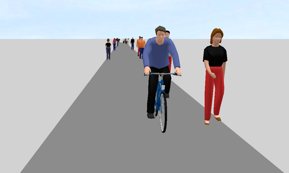 Figure 2: Extreme scenario 1 with two links and two lanes (3D perspective of a cyclist)