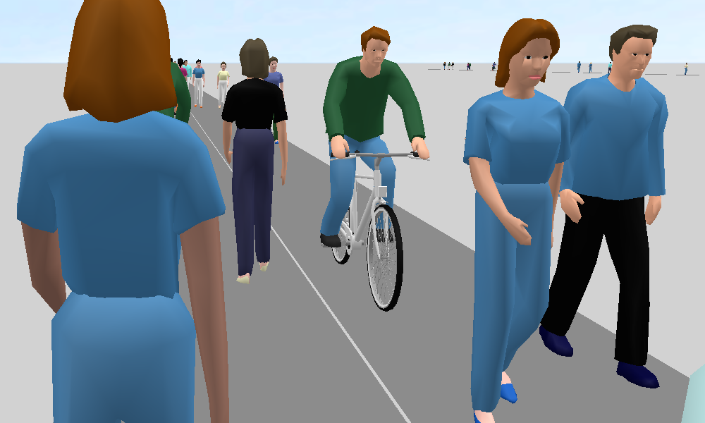 Figure 3: Scenario 2 with two links and 4 lanes (3D perspective of a cyclist)