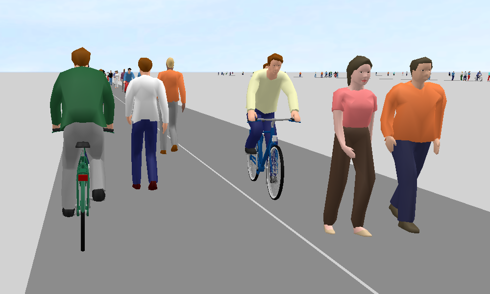 Figure 4: Scenario 3 with two links and 6 lanes (3D perspective of a cyclist)