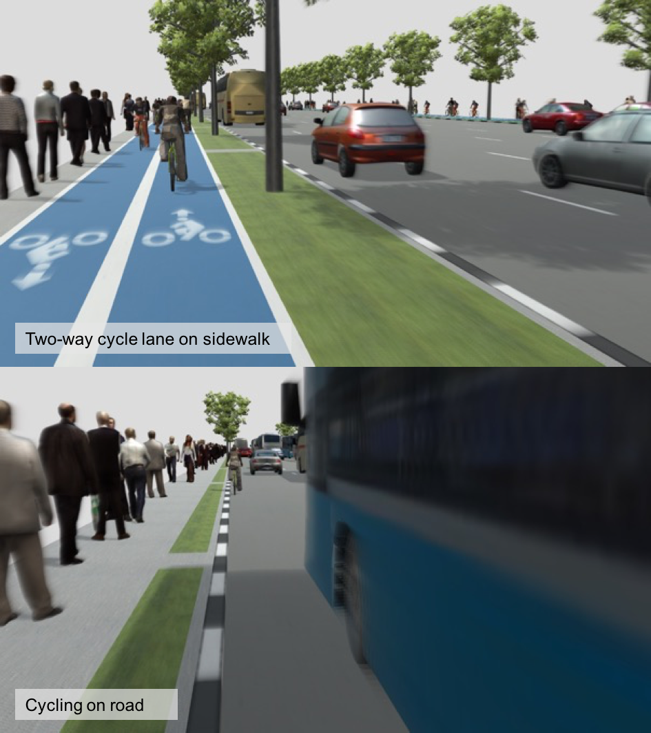 Figure 5: prototype renderings from Unity to illustrate different street configurations and traffic  levels to be used in stated preference surveys.