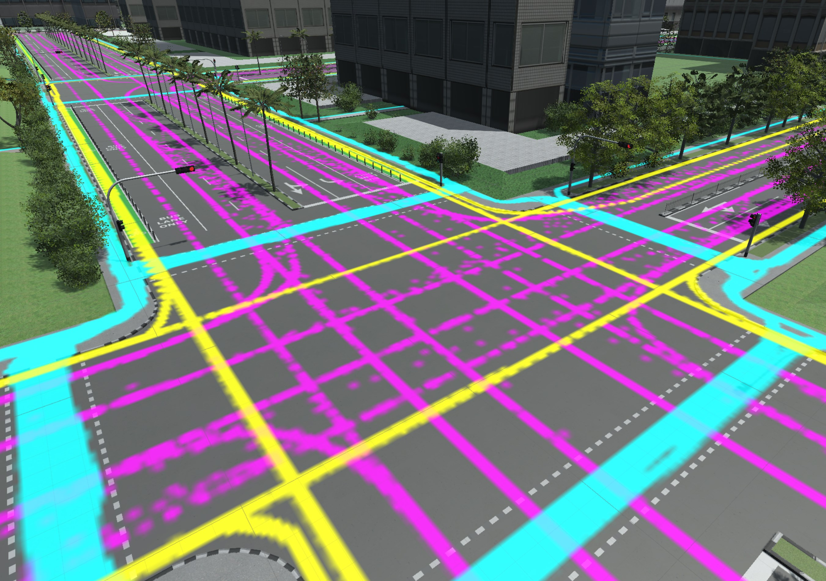 Figure 4: simulated traces of pedestrians (blue), cyclists (yellow) and vehicles (pink) projected on 3d model