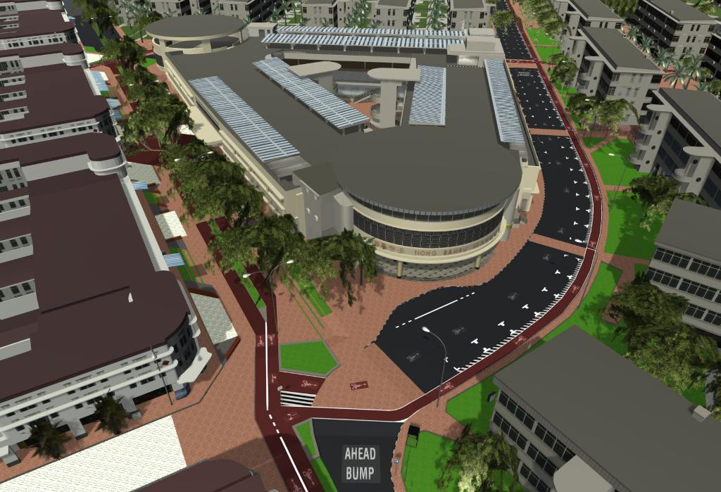 Fig 2: Alternative street designs for Seng Poh Road and Lim Liak Street, 3d building data © Urban Redevelopment Authority