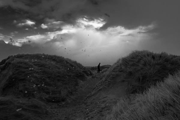 Stürmischer Wind bei den Dünen von Søndervig