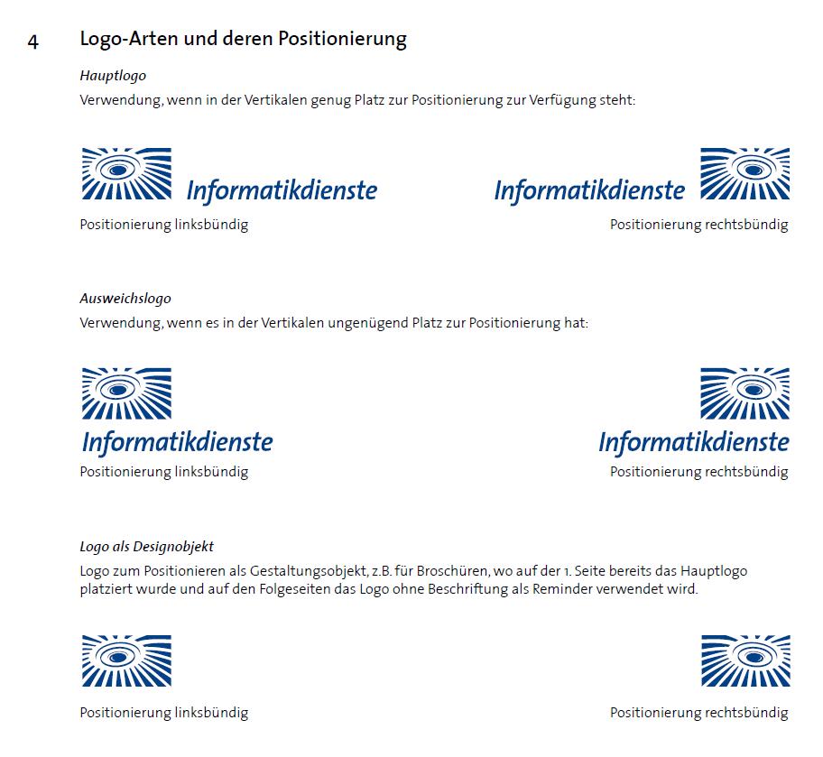 Die ersten Anwendungen des ID-Logos und Vorgaben zur Verwendung