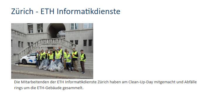 Die ETH auf der Clean-Up_Webseite
