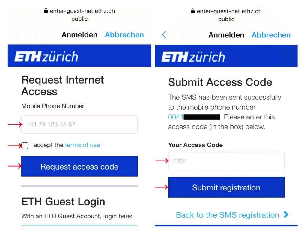 Die Anmeldung für das Gäste Wi-Fi erfolgt per SMS-Registration.
