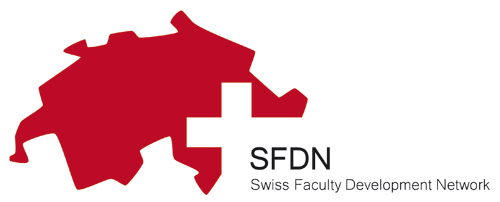 SFDN Logo. A red sillouette of Switzerland with a white cross where the words SFDN Swiss Faculty Development Network appear.
