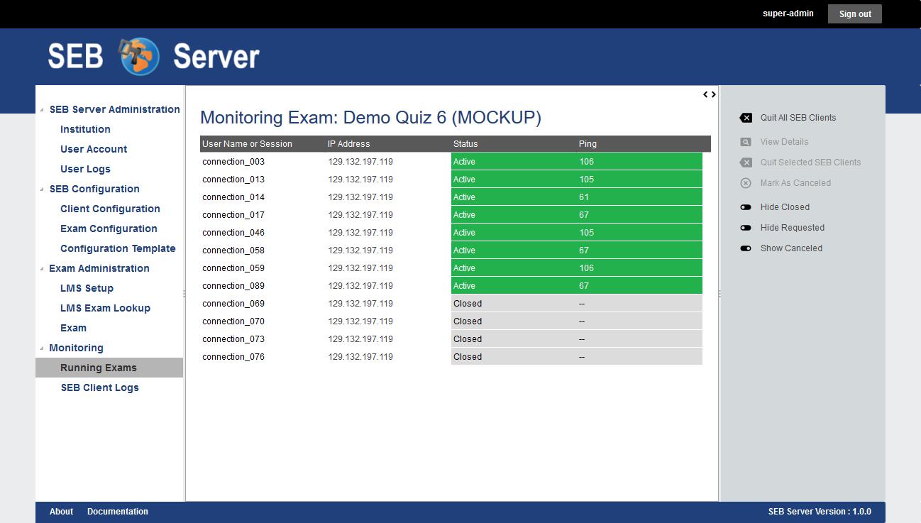 Überwachung der Funktionsfähigkeit der SEB Clients druch den SEB Server in einer laufenden Prüfung