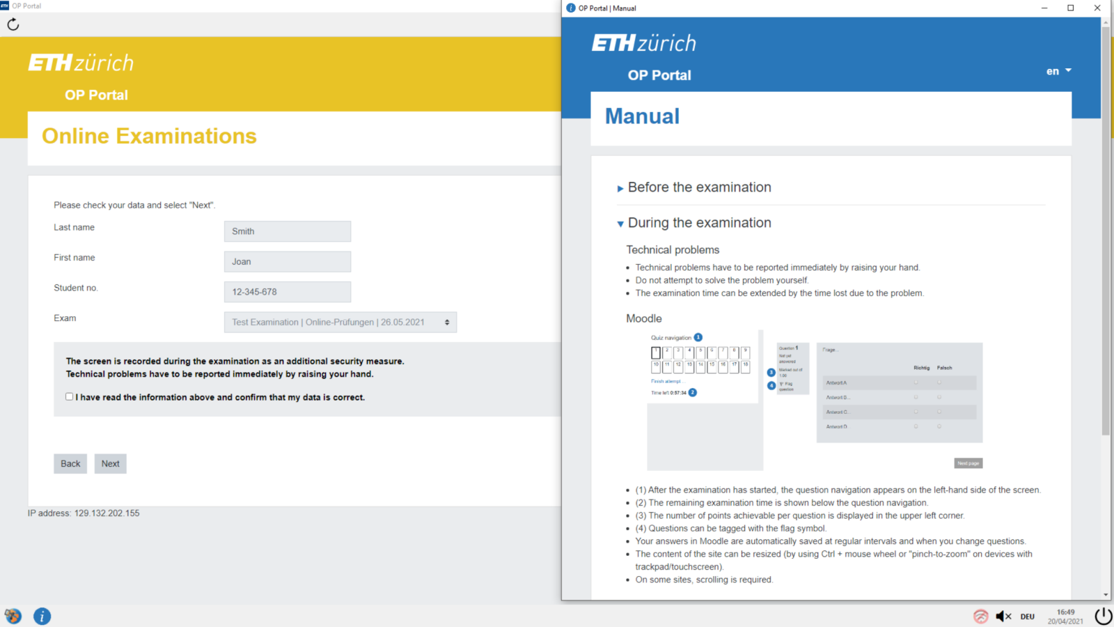 Figure of the revised portal page used in online examination with Moodle at ETH Zurich.