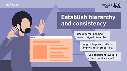 Establish hierarchy and consistency. Use different heading sizes to signal hierarchy. Align things vertically to imply similar properties. Use consistent layout to create familiarity fast.