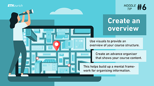 Create an overview. Use visuals to provide an overview of your course structure. Create an advance organiser that shows your course content. This helps build up a mental framework for organising information.